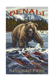 Denali National Park GWS Grizzly Bear Chasing Salm Photographic Print by Paul A Lanquist