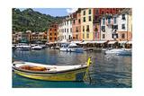 Classic Boat in Portofino Harbor, Liguria, Italy Photographic Print by George Oze