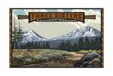 Paul A Lanquist - Three Sisters, Oregon Pal 1892 Fotografická reprodukce