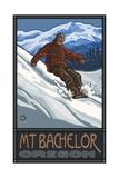 Snowboarder Mt Bachelor Oregon Pal 264 Photographic Print by Paul A Lanquist