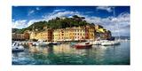 Portofino Harbor Low Angle View, Liguria, Italy Photographic Print by George Oze