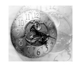 Grandfather Clock Photo Montage In Black And White Fotografiskt tryck av Annmarie Young