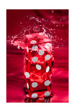 Red Dice Splash Photographic Print by Steve Gadomski