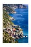 Cinque Terre Towns on the Cliffs, Italy Photographic Print by George Oze