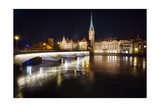 Fraumunster Abbey Night Scenic, Zurich Photographic Print by George Oze