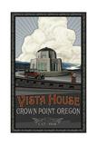 Vista House Oregon with car Pal 1528 Photographic Print by Paul A Lanquist