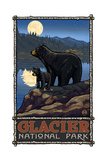 Glacier National Park Black Bear and Cub in the Mo Photographic Print by Paul A Lanquist