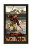 Mount Rainier National Park Fishing Washington Photographic Print by Paul A Lanquist