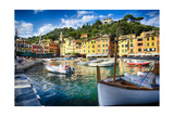 View of Portofino Inner Harbor, Liguria, Italy Photographic Print by George Oze