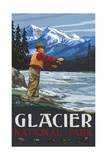 Glacier National Park Fly Fisherman Photographic Print by Paul A Lanquist