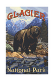 Glacier National Park Grizzly On Bank Pal 1698 Photographic Print by Paul A Lanquist