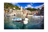 Small Boat in Vernazza Harbor, Cinque Terre, Italy Photographic Print by George Oze
