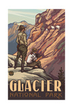 Glacier National Park Rangers with Mountain Goats Photographic Print by Paul A Lanquist