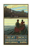 Great Smoky Mountains Lake Canoers Photographic Print by Paul A Lanquist