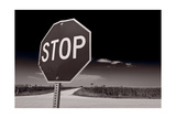 Rural Stop Sign BW Photographic Print by Steve Gadomski