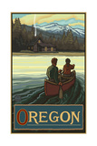 Oregon Canoers and cabin Pal 627 Photographic Print by Paul A Lanquist