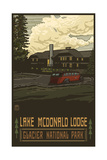 Lake McDonal Lodge Glacier National Park Photographic Print by Paul A Lanquist