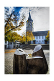 Modern Fountain at St Peter Church, Zurich,CH Photographic Print by George Oze