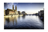 Limmat River with Grossmunster Churc, Zurich Photographic Print by George Oze