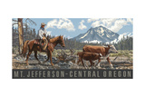 cattle herd in central oregon Photographic Print by Paul A Lanquist