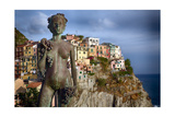 Woman Statue with Grapes, Manarola, Liguria, Italy Photographic Print by George Oze