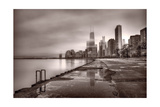 Chicago Foggy Lakefront BW Photographic Print by Steve Gadomski