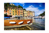 Buildings Along the Harbor, Portofino, Italy Photographic Print by George Oze