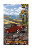 Great Smoky Mountains National Park Red Truck Photographic Print by Paul A Lanquist