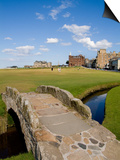 Golfing the Swilcan Bridge on the 18th Hole, St Andrews Golf Course, Scotland Art by Bill Bachmann