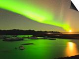 Tom Norring - Aurora Borealis and Moon over Icebergs, Jokulsarlon and Breidamerkurjokull, Iceland - Reprodüksiyon