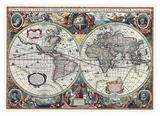 Nova Totius Terrarum Orbis Tabula Poster by Hendrik Hondius