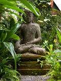 Bali, Ubud, a Statue of buddha Sits Serenely in Gardens Posters by Niels Van Gijn