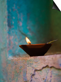 Lamp in a Little Shrine Outside Traditional House, Varanasi, India Print by Keren Su
