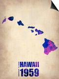 Hawaii Watercolor Map Poster by  NaxArt