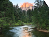 Half Dome with Sunset over Merced River, Yosemite, California, USA Print by Tom Norring