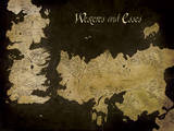 Game of Thrones - Westeros and Essos Antique Map Reprodukce