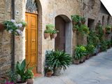 Flower Pots and Potted Plants Decorate a Narrow Street in Tuscan Village, Pienza, Italy Art by Dennis Flaherty