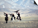 Eagle Hunters Dalai Khan, Takhuu Grandfather, Son Kook Kook, Golden Eagle Festival, Mongolia Prints by Amos Nachoum