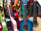 Toy Guitars, Olvera Street Market, El Pueblo de Los Angeles, Los Angeles, California, USA Prints by Walter Bibikow