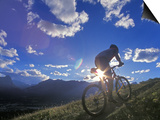 Mountain Biker at Sunset, Canmore, Alberta, Canada Poster by Chuck Haney