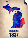 Michigan Watercolor Map Poster by  NaxArt