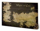 Game of Thrones - Westeros and Essos Antique Map Træskilt