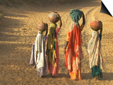 Girls Wearing Sari with Water Jars Walking in the Desert, Pushkar, Rajasthan, India Poster by Keren Su