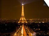 Nighttime View of Eiffel Tower and Champs Elysees, Paris, France Print by Jim Zuckerman