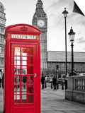 A Traditional Red Phone Booth In London With The Big Ben In A Black And White Background Poster by  Kamira
