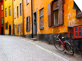 Street Scene in Gamla Stan Section with Bicycle and Mailbox, Stockholm, Sweden Prints by Nancy & Steve Ross