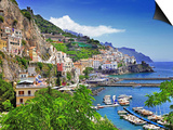 Travel In Italy Series - View Of Beautiful Amalfi Prints by  Maugli-l