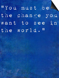 Inspirational Quote By Mahatma Ghandi On Earthy Blue Background Posters by  nagib