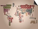 World Map: Countries In Wordcloud Kunstdrucke von  alanuster