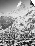Morning Town View with Matterhorn, Zermatt, Valais, Wallis, Switzerland Prints by Walter Bibikow